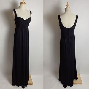AMSALE Empire Waist Black Stretch Jersey Maxi Dres